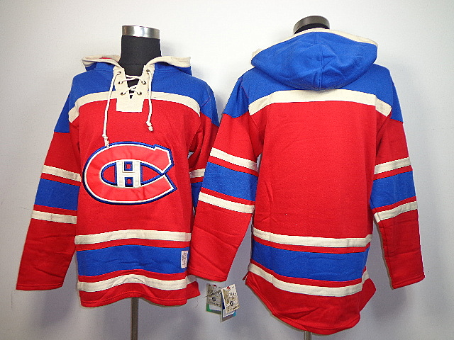 NHL Montreal Canadiens Blank Red Old Time Hockey Sawyer Lace Up Pullover Hooded Sweatshirt