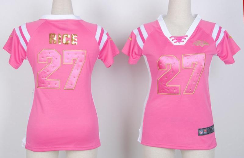 Womens Baltimore Ravens 27 rice Pink Nike Fashion Rhinestone sequins Jersey