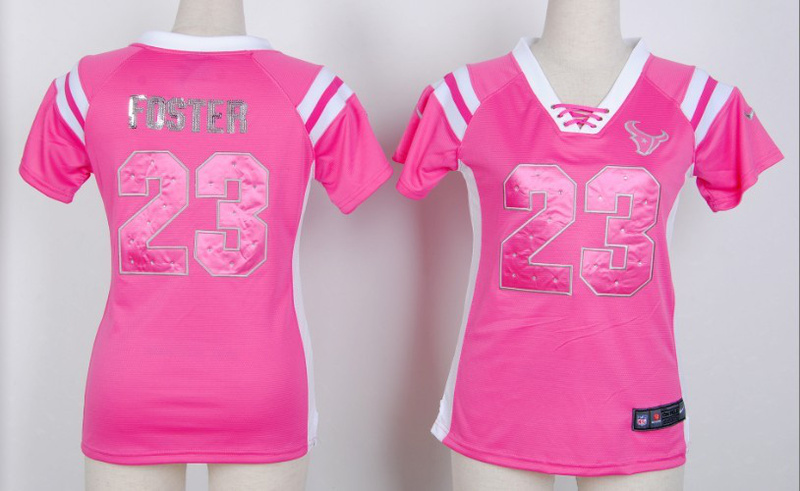 Womens Houston Texans 23 foster Pink Nike Fashion Rhinestone sequins Jersey