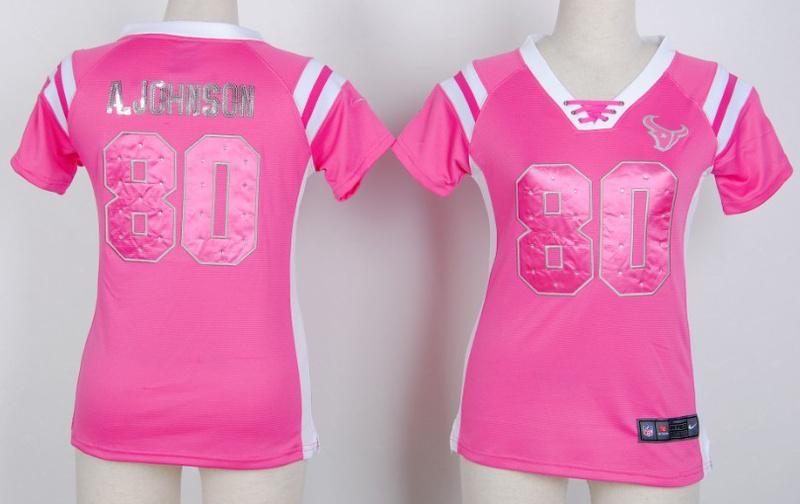 Womens Houston Texans 80 a.johnson Pink Nike Fashion Rhinestone sequins Jersey