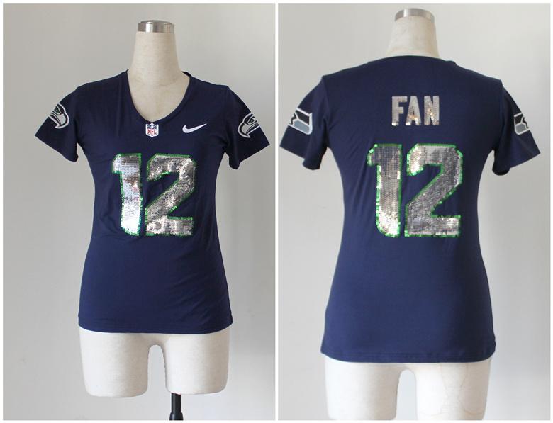 Womens Seattle Seahawks 12 Fan Blue Nike Handwork Sequin lettering Fashion Jerseys