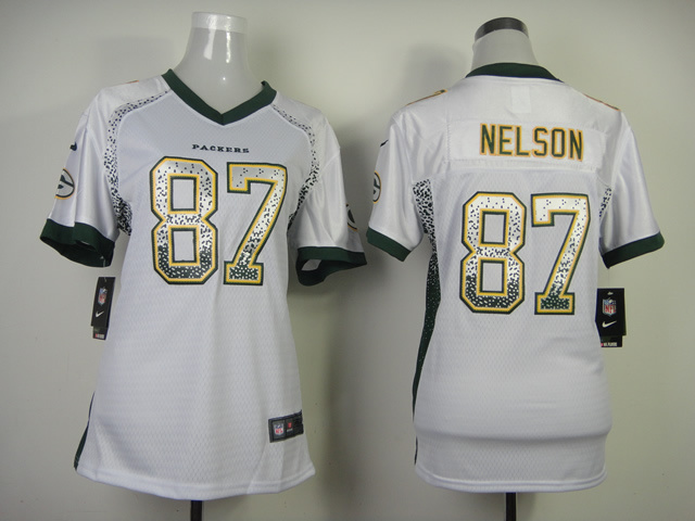 Womens 2013 New Nike Green Bay Packers 87 Nelson Drift Fashion White Elite Jerseys