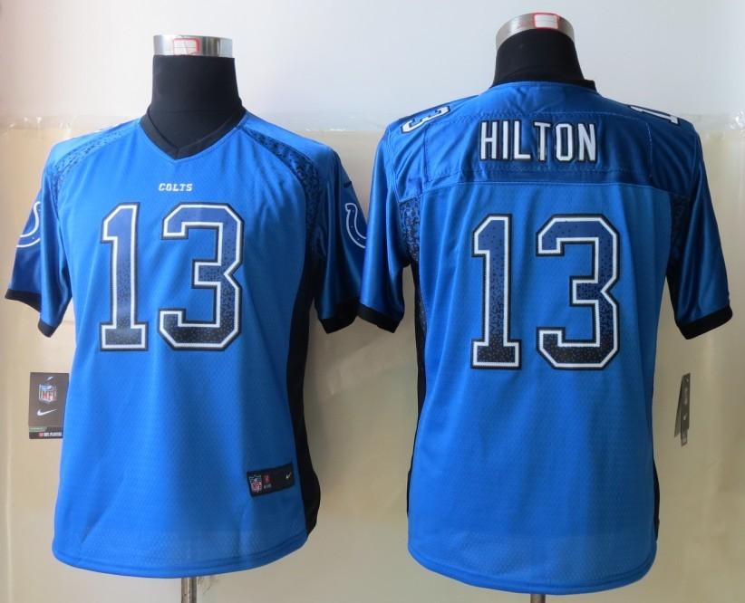 Womens 2013 NEW Nike Indianapolis Colts 13 Hilton Drift Fashion Blue Elite Jerseys