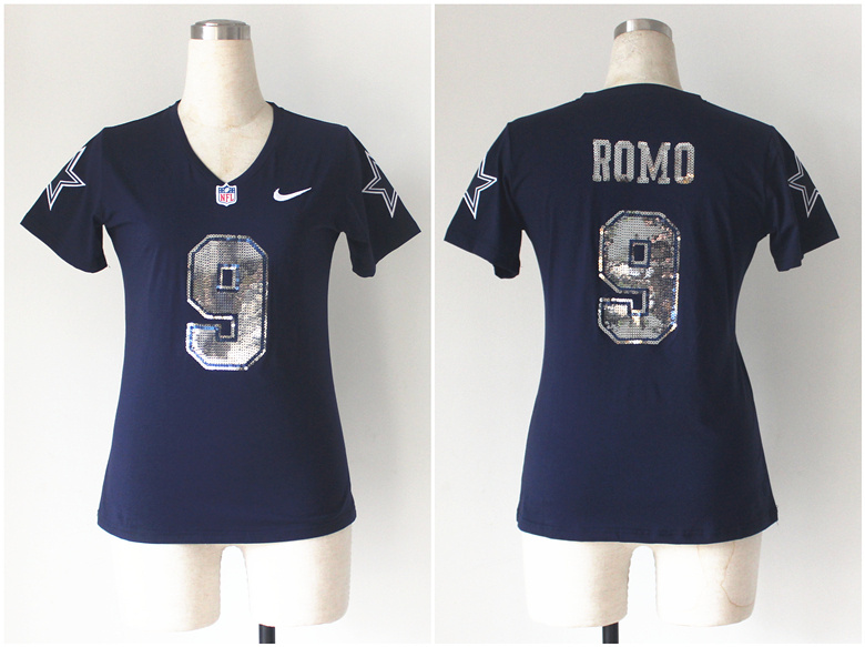 Womens Dallas Cowboys 9 Tony Romo Blue Nike Handwork Sequin lettering Fashion Jerseys