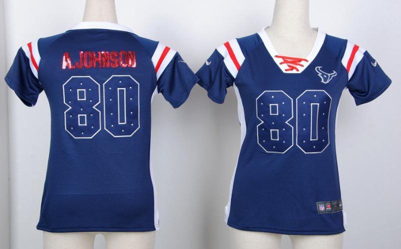 Womens Houston Texans 80 Andre Johnson Blue Nike Fashion Rhinestone sequins Jersey