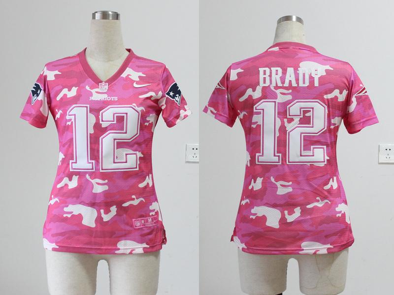 Womens New England Patriots 12 Tom Brady 2013 Nike Fashion New Pink Camo Jerseys