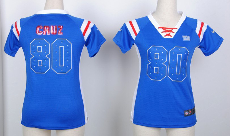 Womens New York Giants 80 Victor Cruz Light Blue Nike Fashion Rhinestone sequins Jersey
