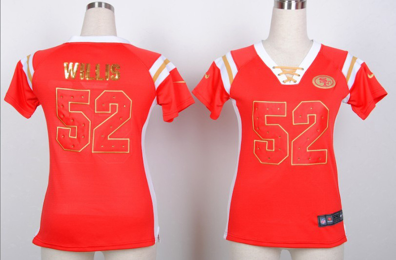 Womens San Francisco 49ers 52 Patrick Willis Red Nike Fashion Rhinestone sequins Jersey
