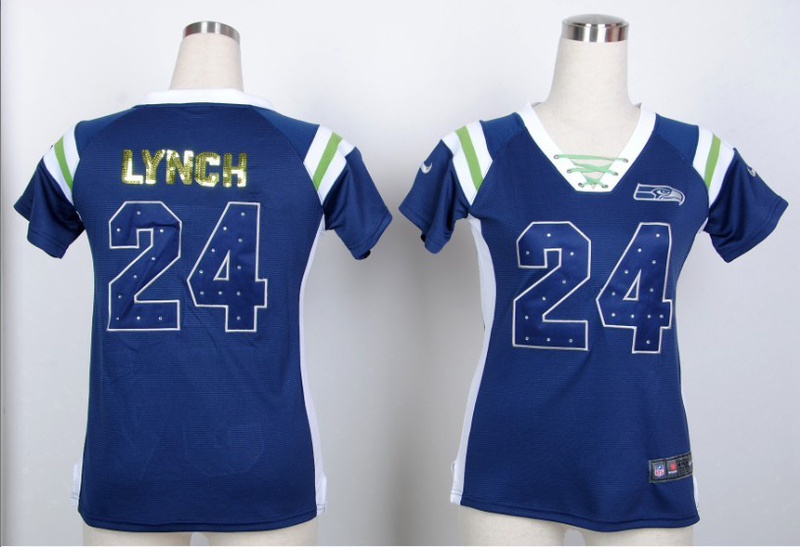 Womens Seattle Seahawks 24 Marshawn Lynch Blue Nike Fashion Rhinestone sequins Jersey
