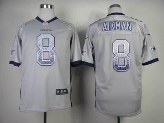 2013 New Nike Dallas Cowboys 8 Aikman Drift Fashion Grey Elite Jerseys
