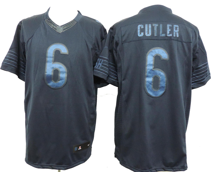 Chicago Bears 6 Jay Cutler Dark Blue Nike Limited Drenched Jersey