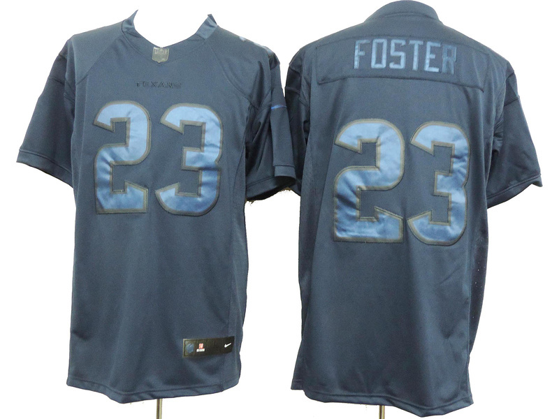 Houston Texans 23 Arian Foster Blue Nike Limited Drenched Jersey