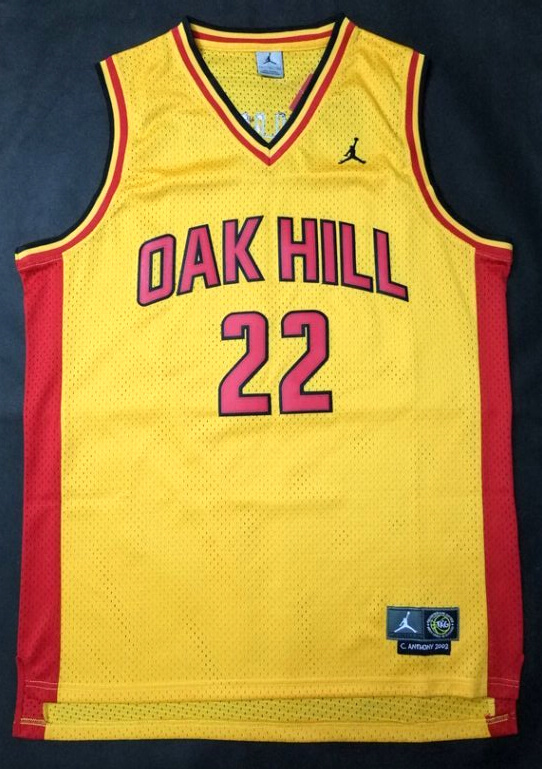 NBA NCAA Oak Hill 22 Carmelo Anthony Yellow Basketball Jersey