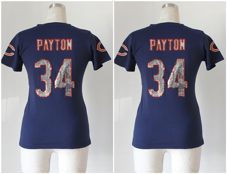 Womens Chicago Bears 34 Walter Payton Blue Nike Handwork Sequin lettering Fashion Jerseys