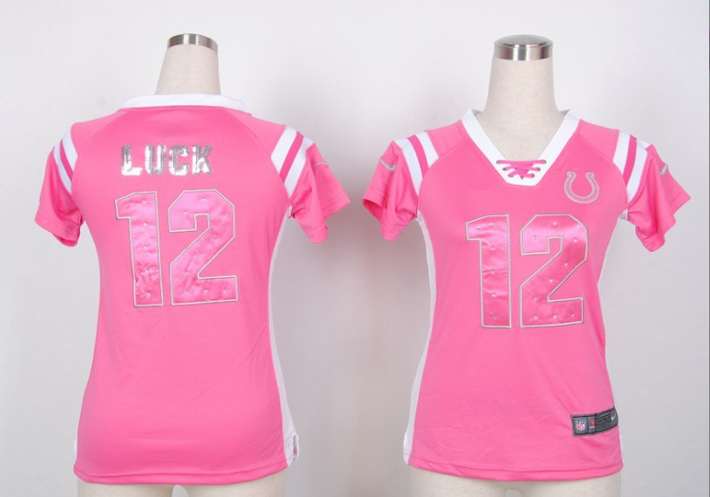 Womens Indianapolis Colts 12 Andrew Luck Pink Nike Fashion Rhinestone sequins Jersey