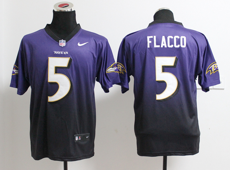 Baltimore Ravens 5 Flacco Purple Balck Nlike Drift Fashion II Elite Jerseys