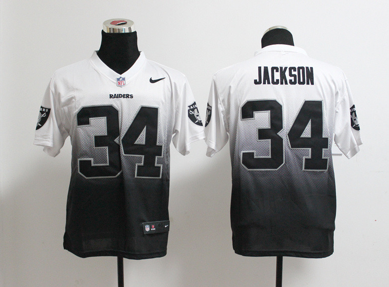 Oakland Raiders 34 Bo Jackson White Black Nlike Drift Fashion II Elite Jerseys