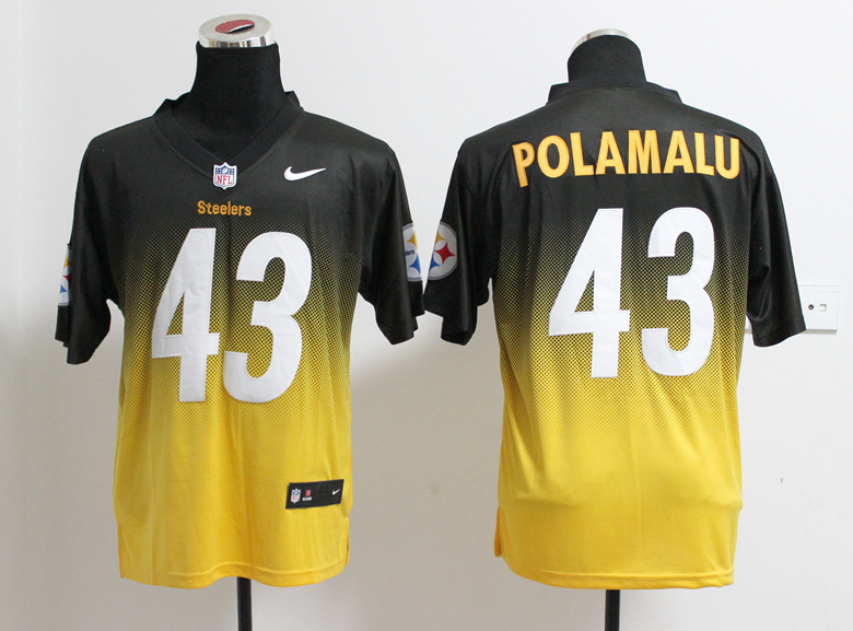 Pittsburgh Steelers 43 Troy Polamalu Black Yellow Nlike Drift Fashion II Elite Jerseys