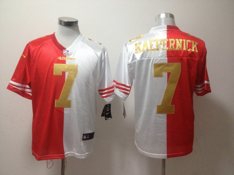 San Francisco 49ers 7 Colin Kaepernick Red And White Nike Elite Split Jerseys