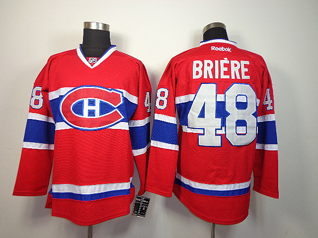 NHL Reebok Montreal Canadiens 48 Briere Red Jerseys