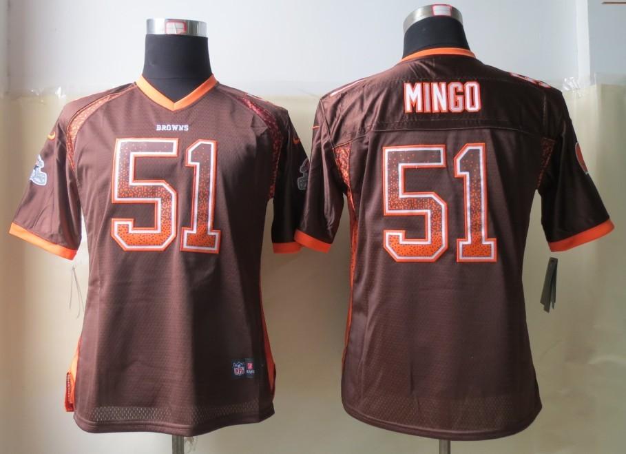 Womens 2013 New Nike Cleveland Browns 51 Mingo Drift Fashion Brown Elite Jerseys