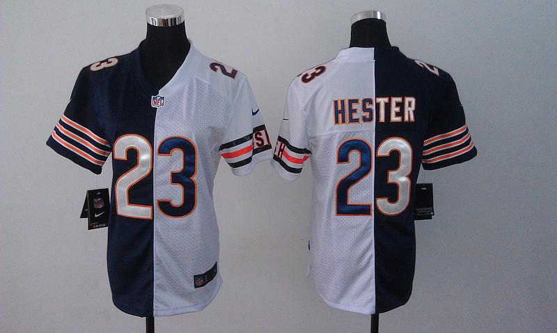 Womens Chicago Bears 23 Devin Hester Blue And White Nike Elite Split Jerseys
