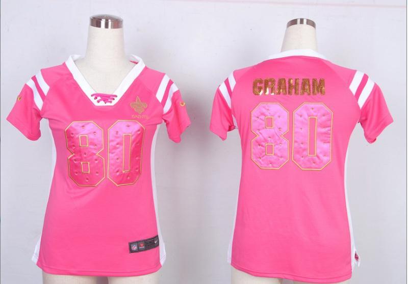 Womens New Orleans Saints 80 Jimmy Graham Pink Nike Fashion Rhinestone sequins Jersey