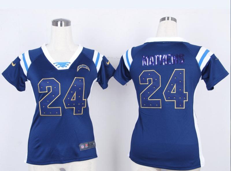 Womens San Diego Chargers 24 Ryan Mathews Blue Nike Fashion Rhinestone sequins Jersey