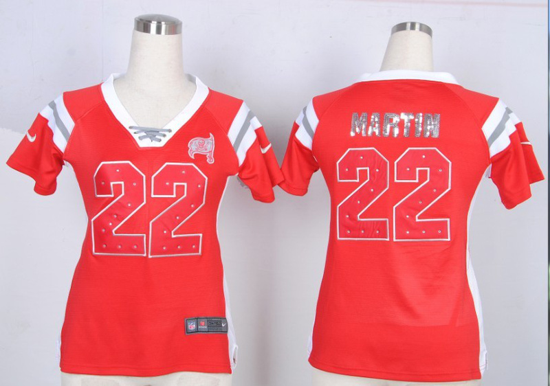 Womens Tampa Bay Buccaneers 22 Doug Martin red Nike Fashion Rhinestone sequins Jersey