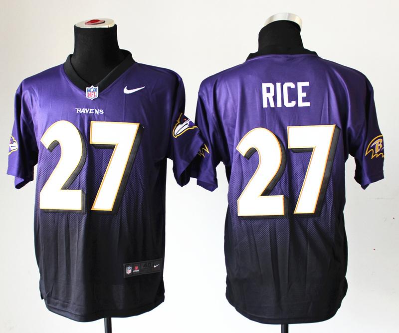 Baltimore Ravens 27 Rice Purple Balck Nlike Drift Fashion II Elite Jerseys