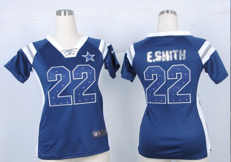 Womens Dallas Cowboys 22 Emmitt Smith Blue Nike Fashion Rhinestone sequins Jersey