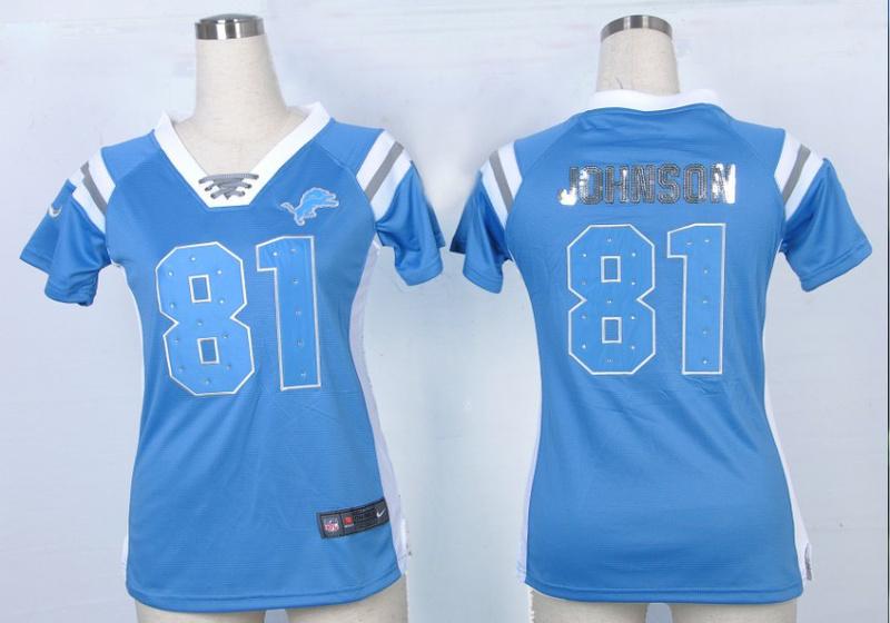 Womens Detroit Lions 81 Calvin Johnson Blue Nike Fashion Rhinestone sequins Jersey
