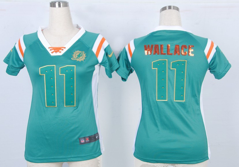 Womens Miami Dolphins 11 Wallace Green Nike Fashion Rhinestone sequins Jersey