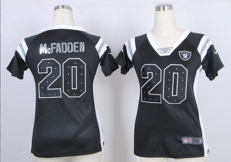 Womens Oakland Raiders 20 Darren McFadden Black Nike Fashion Rhinestone sequins Jersey