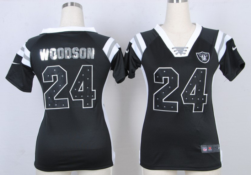 Womens Oakland Raiders 24 Charles Woodson Black Nike Fashion Rhinestone sequins Jersey