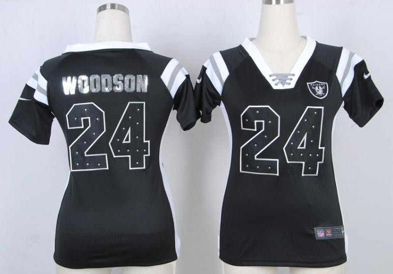 Womens Oakland Raiders 24 Charles Woodson Black Nike Fashion Rhinestone sequins Jersey