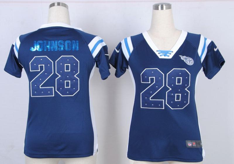 Womens Tennessee Titans 28 Chris Johnson Blue Nike Fashion Rhinestone sequins Jersey