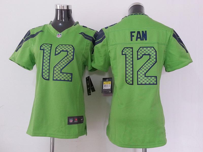 Womens Seattle Seahawks 12 Fan Green Nike NFL Jersey