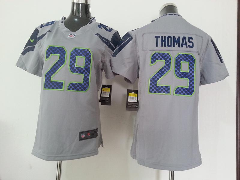 Womens Seattle Seahawks 29 Thomas Grey Gray Nike NFL Jersey
