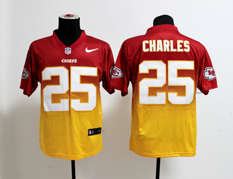 Kansas City Chiefs 25 Jamaal Charles Red Yellow Nlike Drift Fashion II Elite Jerseys