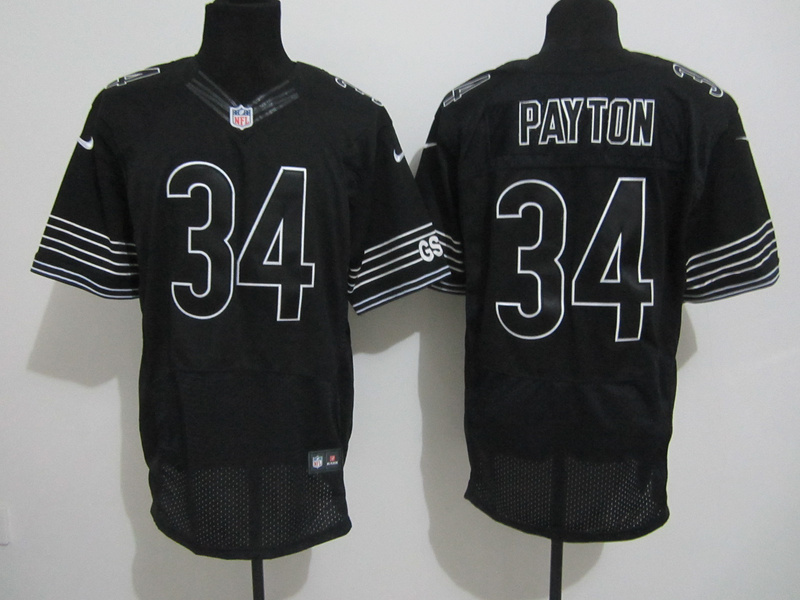 Chicago Bears 34 Payton Nike black elite jerseys