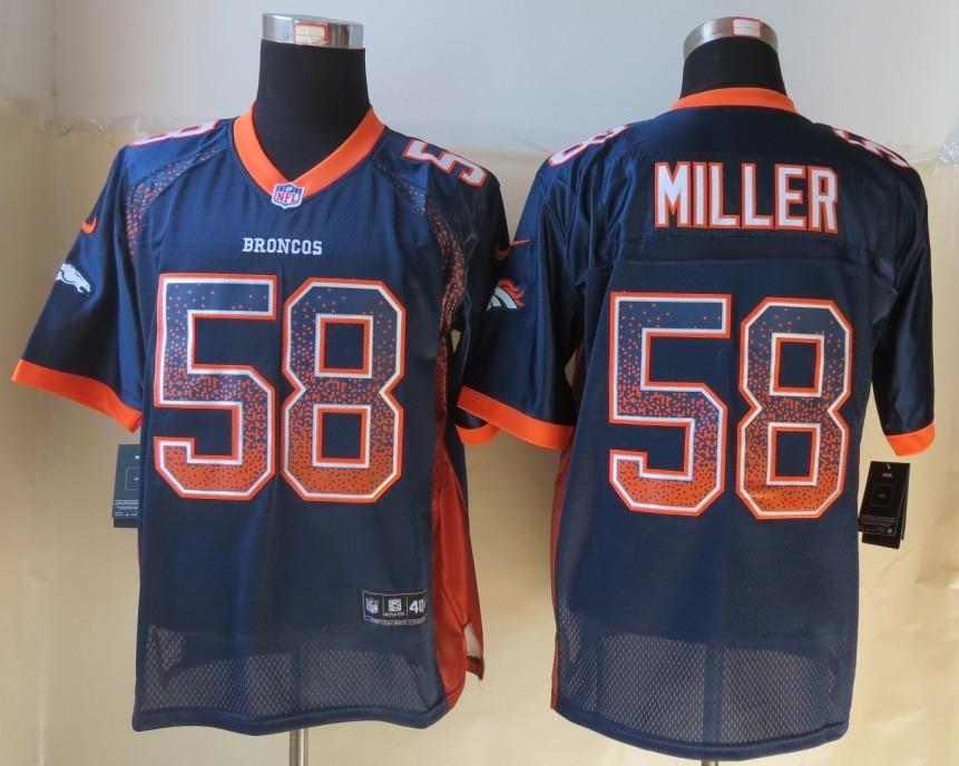 2013 NEW Nike Denver Broncos 58 Miller Drift Fashion Blue Elite Jersey