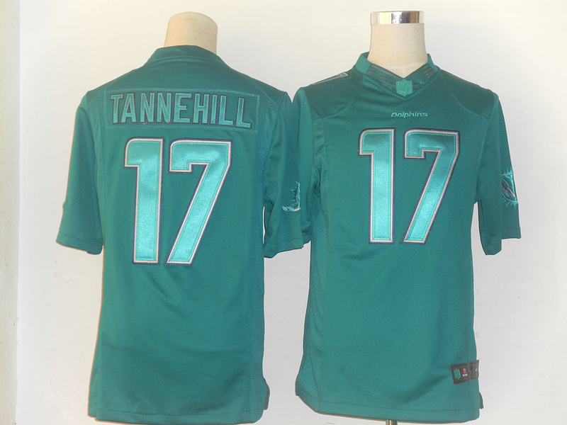 Miami Dolphins 17 Tannehill Green Nike Limited Drenched Jersey