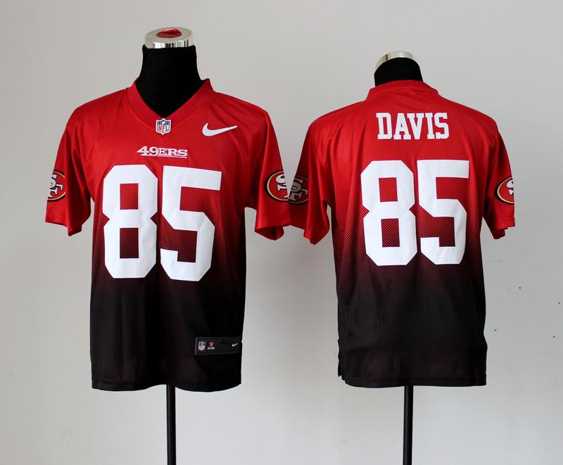 San Francisco 49ers 85 Vernon Davis Red Brown Nike Drift Fashion II Elite Jerseys