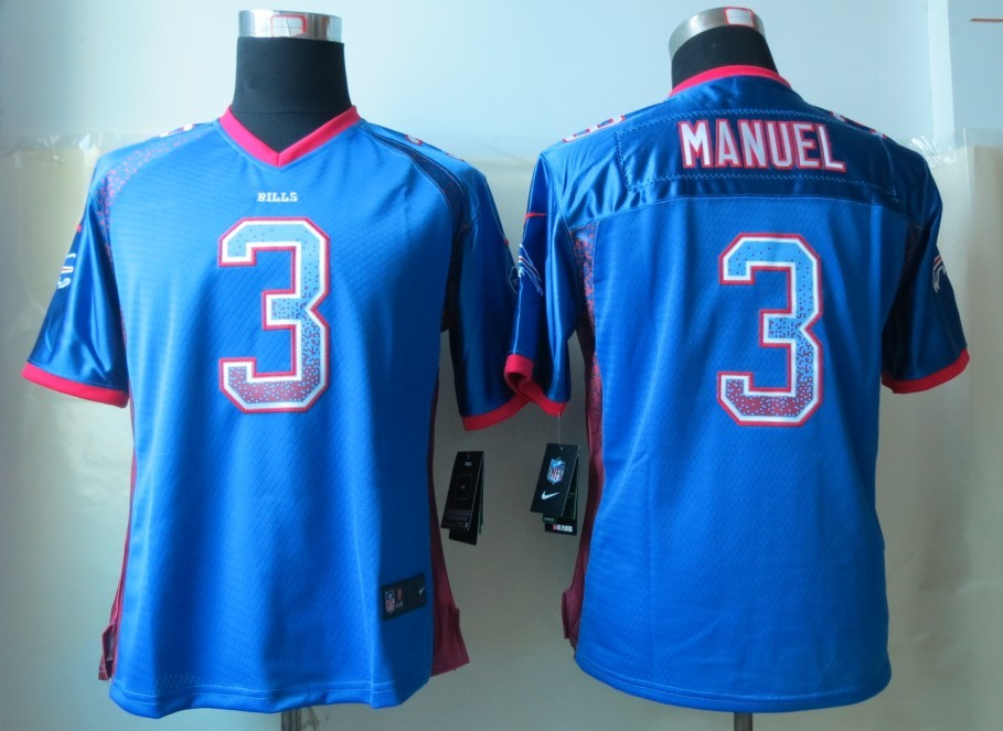Womens 2013 New Nike Buffalo Bills 3 Manuel Drift Fashion Blue Elite Jerseys