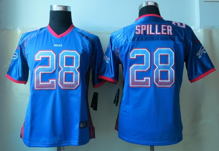 Womens 2013 New Nike Buffalo Bills 28 Spiller Drift Fashion Blue Elite Jerseys