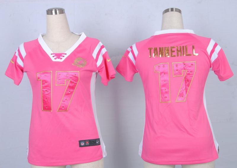 Womens Miami Dolphins 17 Ryan Tannehill Pink Nike Fashion Rhinestone sequins Jersey