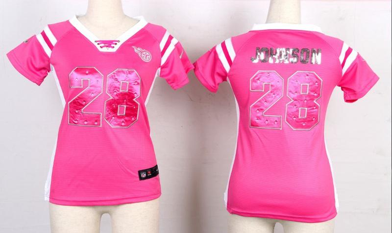Womens Tennessee Titans 28 Chris Johnson Pink Nike Fashion Rhinestone sequins Jersey