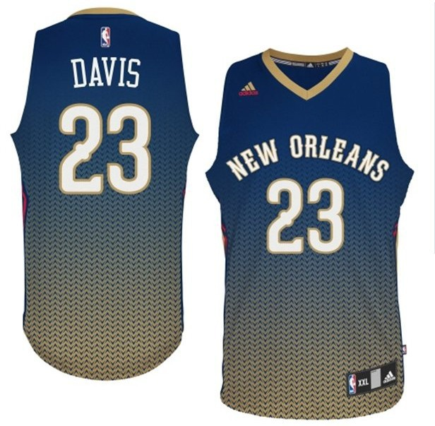 NBA Drift Fashion Jersey New Orleans Hornets 23 Anthony Davis Blue