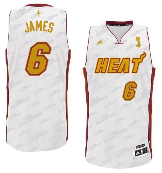 NBA Fashion New Revolution 30 Jersey Miami Heat 6 LeBron James White